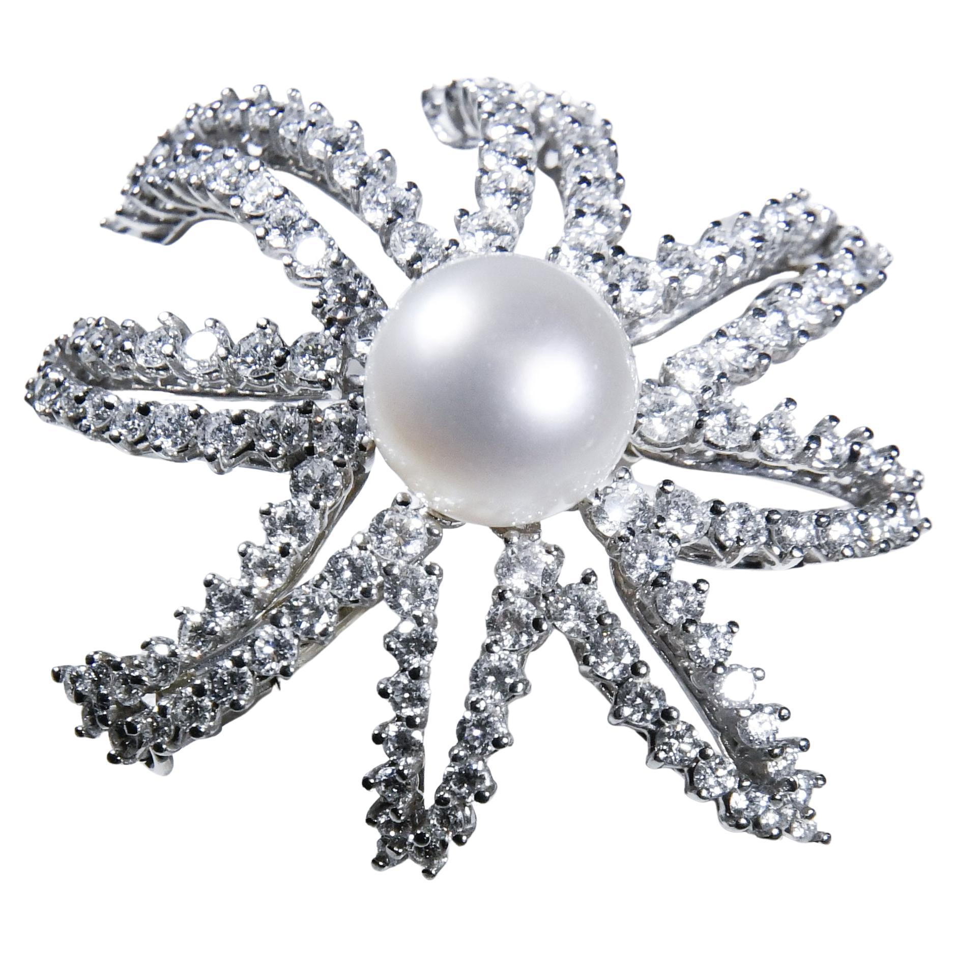 "Tiffany & Co. Platinum, South Sea Pearl and Diamond ""Fireworks"" Brooch"