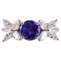 "Tiffany & Co. Platinum Tanzanite Diamond Ring from the ""Victoria Collection"""