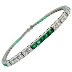 Tiffany & Co. Platinum Tennis Line Bracelet with Diamond and Emerald, 1960s