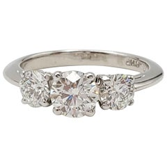 Tiffany & Co. Platinum Three-Stone Diamond Engagement Ring