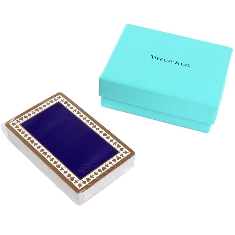 Blue Tiffany & Co Playing Cards New in Original Box in Original Packaging For Sale