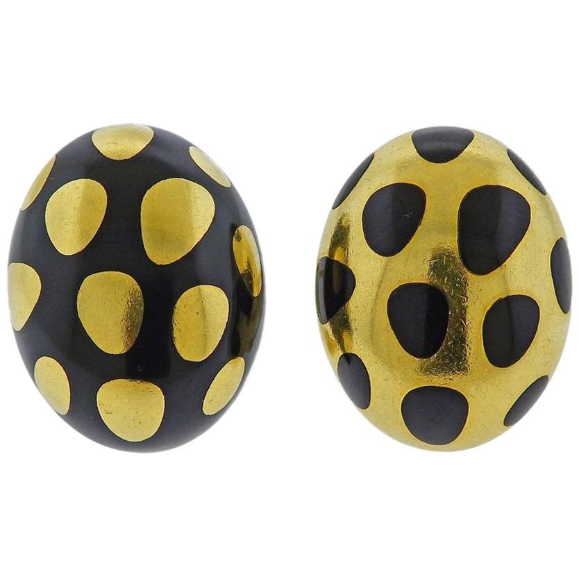 18K Yellow Gold Blue Enamel Polka Dot Heart Dangle Earring 26mm X 5mm