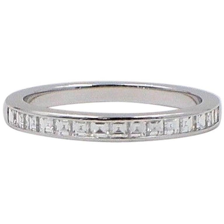 05c81838b Tiffany & Co. Princess Cut 0.39 Carat Diamond Wedding Band Ring in Platinum  For Sale