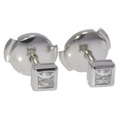 Tiffany & Co. Princess Cut Diamond Earrings .26 Carat TW Platinum Mountings