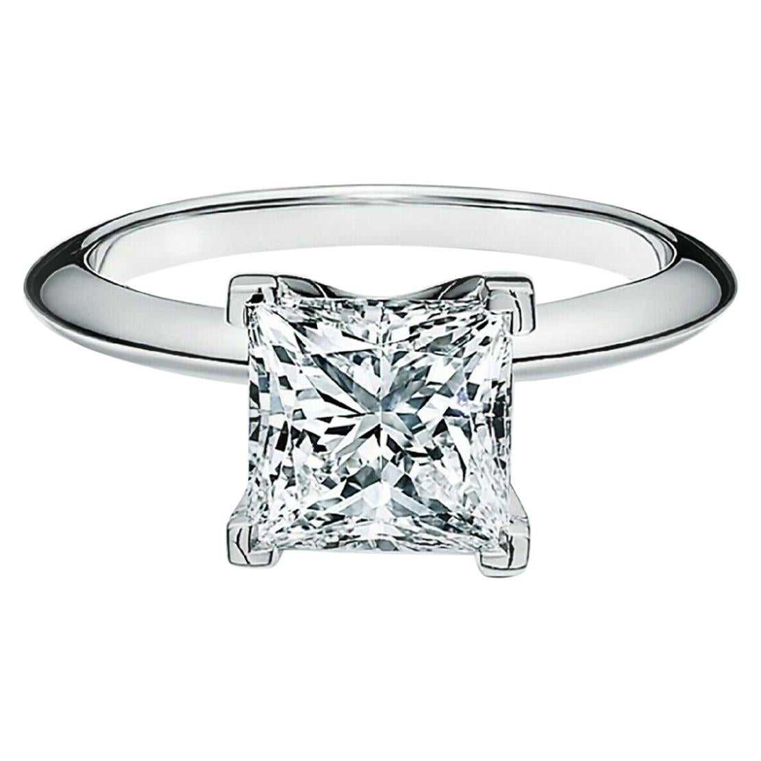 Tiffany & Co. Princess-Cut Diamond Engagement Ring in Platinum with Certificate