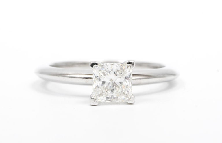 Princess Cut Tiffany & Co. Princess-Cut Diamond Engagement Ring with .88 Carat Centre F VVS2 For Sale