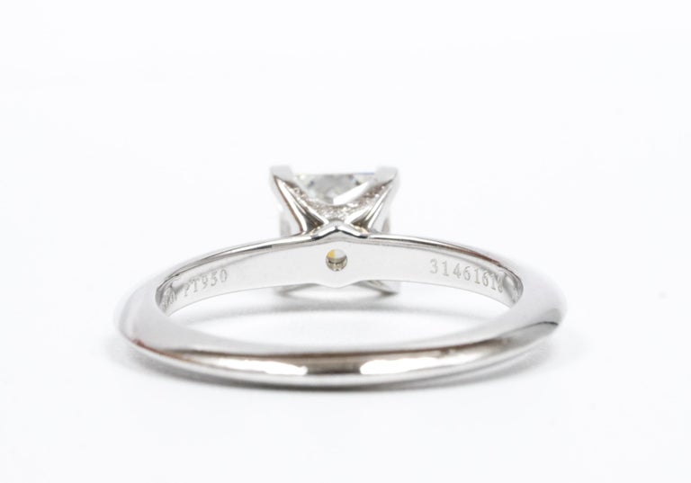 Tiffany & Co. Princess-Cut Diamond Engagement Ring with .88 Carat Centre F VVS2 For Sale 1
