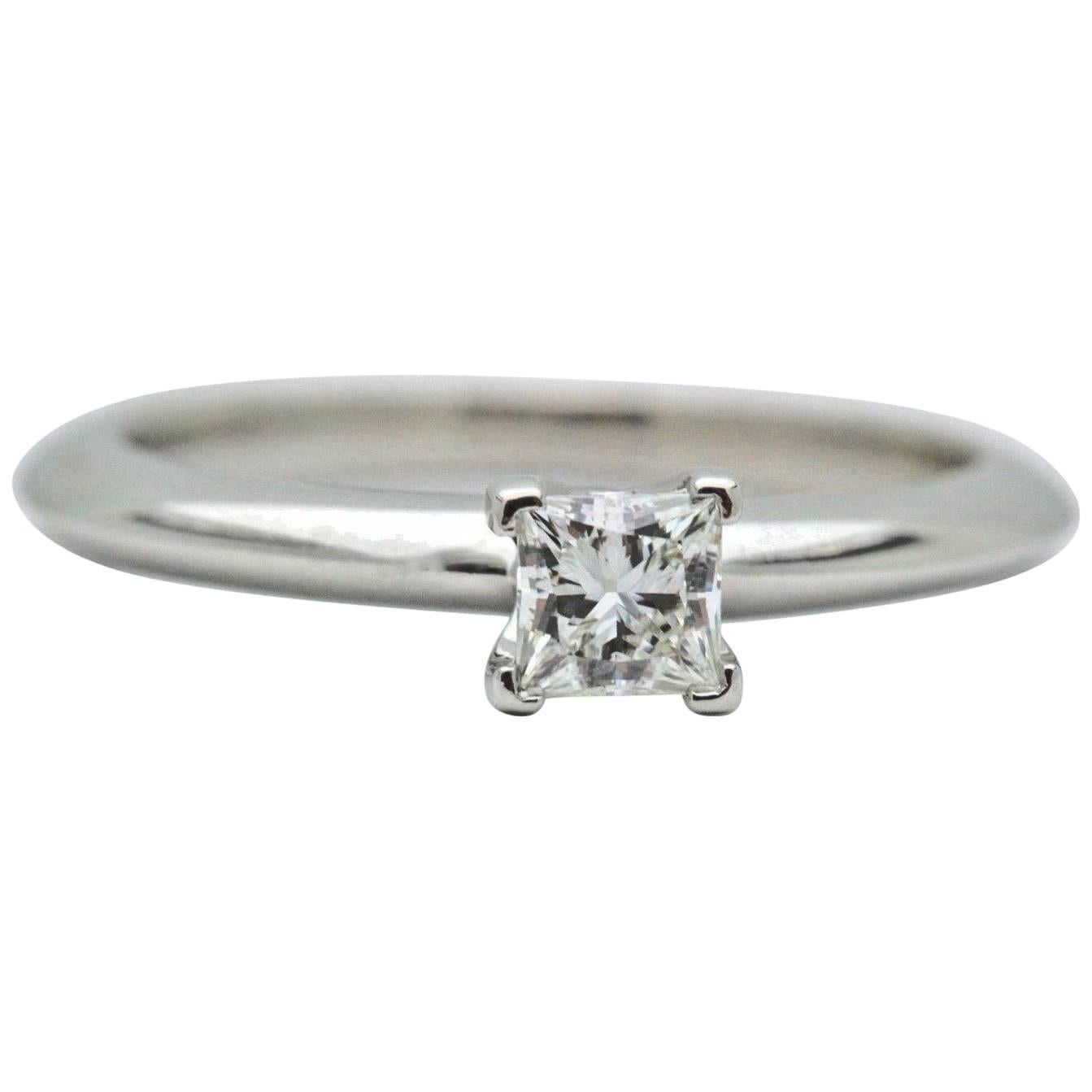 Tiffany & Co. Princess Cut Solitaire 0.24 Carat Diamond and Platinum Ring