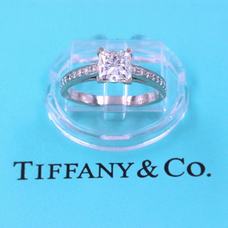 Princess Cut Tiffany & Co. Princess Diamond Engagement Ring 1.29 Carat Platinum For Sale