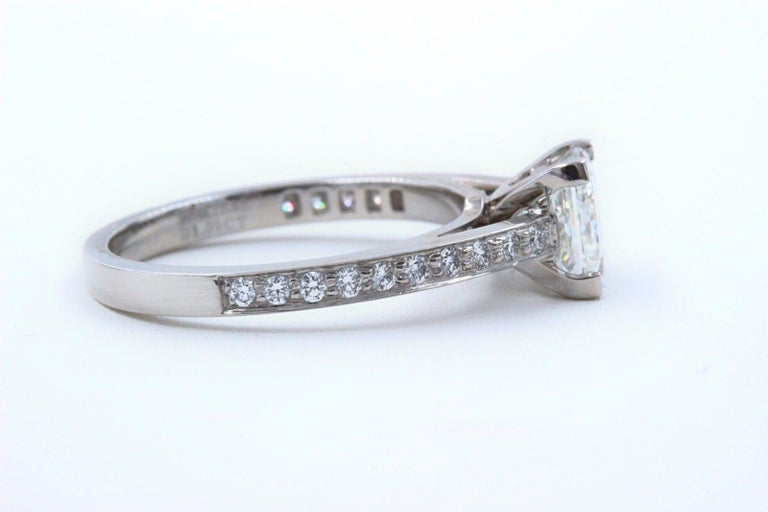 Tiffany & Co. Princess Diamond Engagement Ring 1.29 Carat Platinum In Excellent Condition For Sale In San Diego, CA