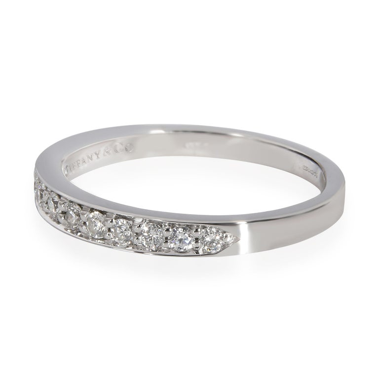 Modern Tiffany & Co. Prong Set Diamond Wedding Band in Platinum 0.60 CTW For Sale