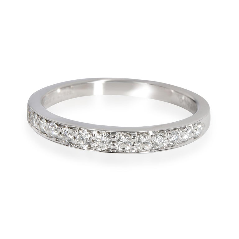 Round Cut Tiffany & Co. Prong Set Diamond Wedding Band in Platinum 0.60 CTW For Sale