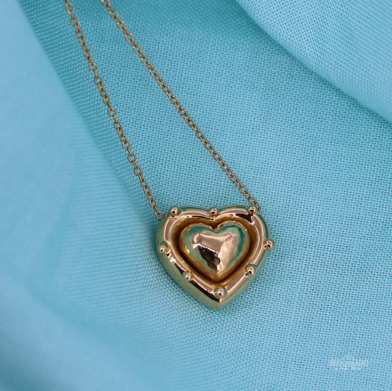 Tiffany & Co. Puffed Heart Pendant on Gold Chain In Excellent Condition For Sale In Palm Beach, FL
