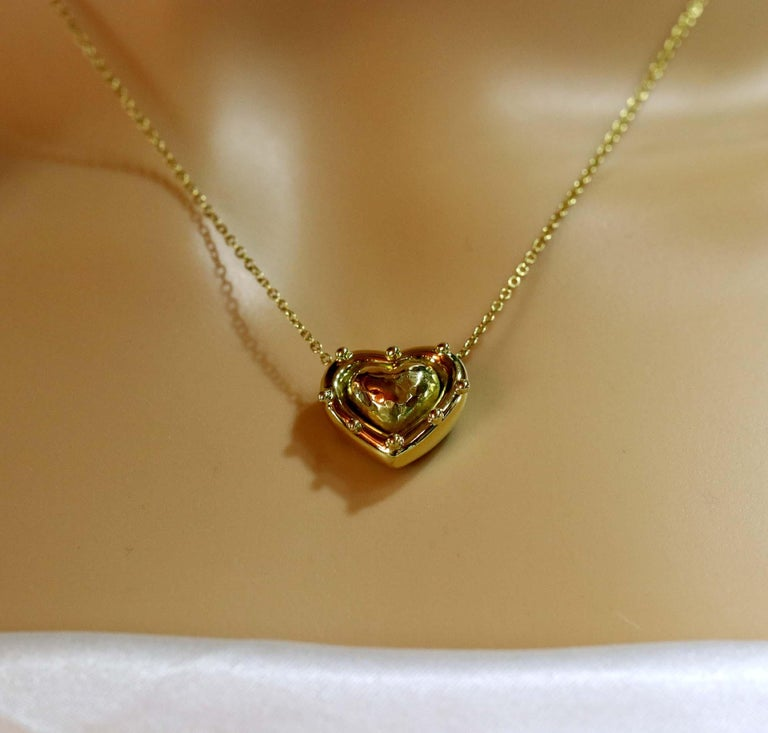 Women's Tiffany & Co. Puffed Heart Pendant on Gold Chain For Sale