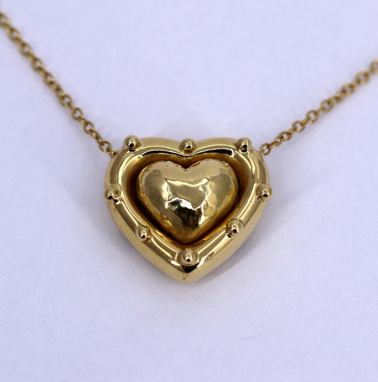Tiffany & Co. Puffed Heart Pendant on Gold Chain For Sale 1