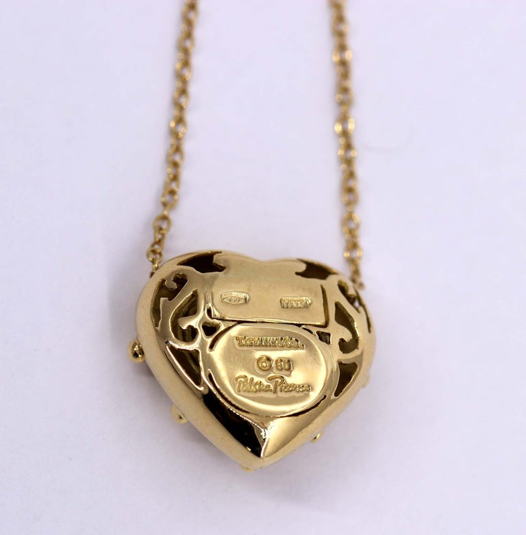 Tiffany & Co. Puffed Heart Pendant on Gold Chain For Sale 2