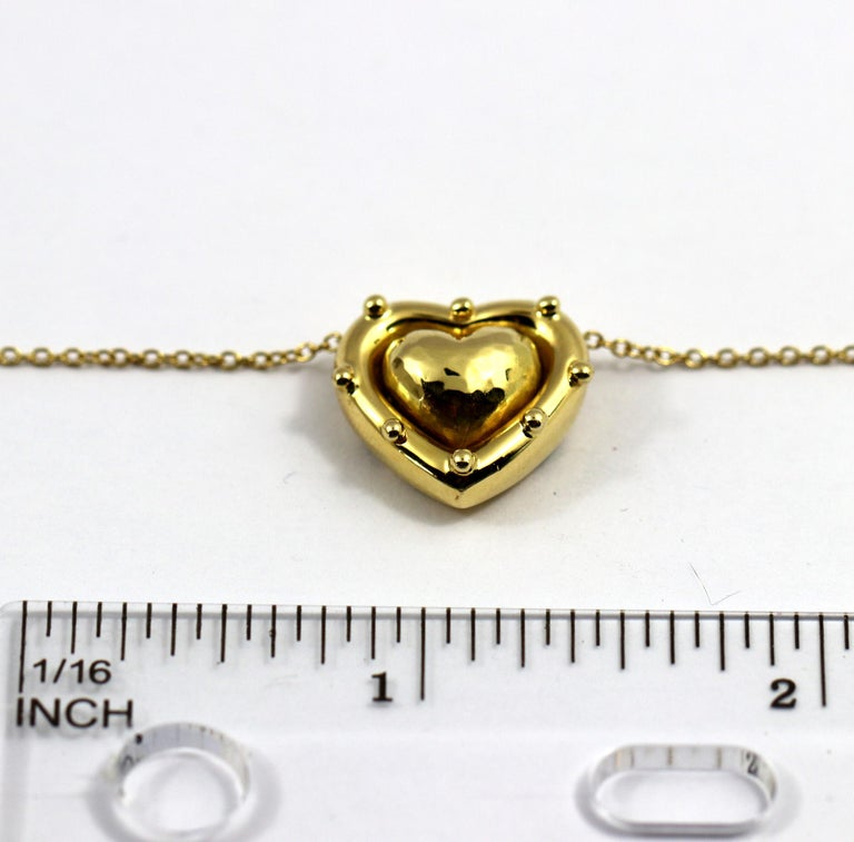 Tiffany & Co. Puffed Heart Pendant on Gold Chain For Sale 3