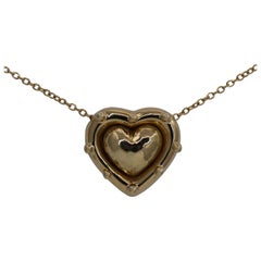 Tiffany & Co. Puffed Heart Pendant on Gold Chain