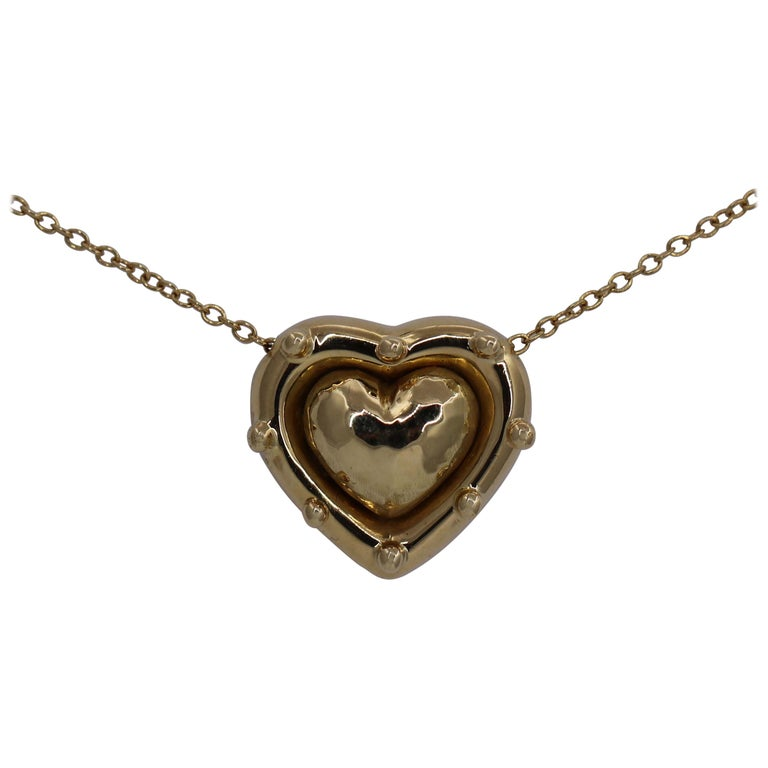 Tiffany & Co. Puffed Heart Pendant on Gold Chain For Sale