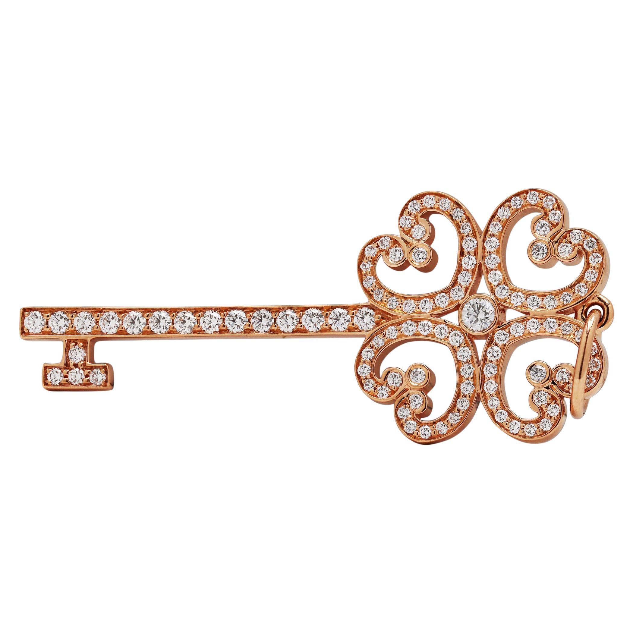 Tiffany & Co. 'Quatra Heart' Rose Gold Diamond Key Pendant
