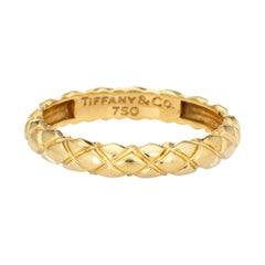 Tiffany & Co Quilt Pattern Ring 18k Yellow Gold Band Vintage Jewelry