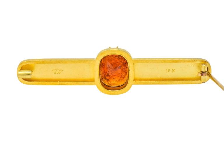 Tiffany & Co. Renaissance Revival Garnet 18 Karat Two-Tone Gold Cameo Bar Brooch For Sale 2