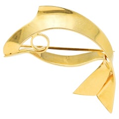 Tiffany & Co. Retro 14 Karat Gold Fish Brooch, Circa 1940