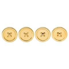 Tiffany & Co. Retro 14 Karat Gold Stylized Button Shirt Studs