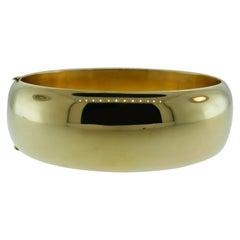 Tiffany & Co. Retro 14 Karat Yellow Gold Cuff Bangle Bracelet Rare