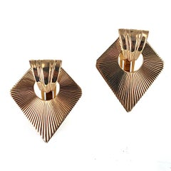 Tiffany & Co. Retro 14 Karat Yellow Gold Fan Clip Earrings
