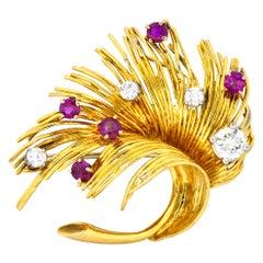 Tiffany & Co. Retro 1.70 Carat Diamond Ruby 18 Karat Gold Spray Brooch