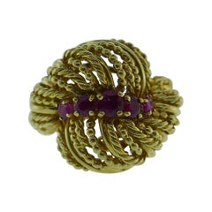 Tiffany & Co. Retro 18k Yellow Gold & Ruby Bombe Ring, Circa 1940s