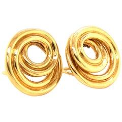 Tiffany & Co. Retro 18k Yellow Gold Swirling Circular Earrings