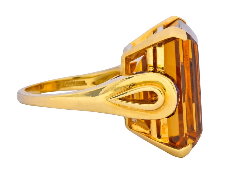 Tiffany & Co. Retro 24.54 Carat Citrine Ruby Cocktail Ring, circa 1950 In Excellent Condition For Sale In Philadelphia, PA