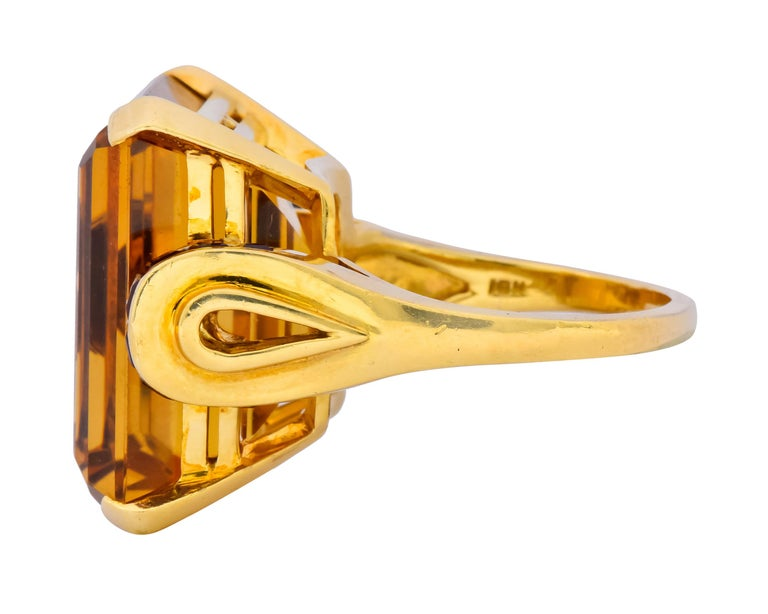 Tiffany & Co. Retro 24.54 Carat Citrine Ruby Cocktail Ring, circa 1950 For Sale 1