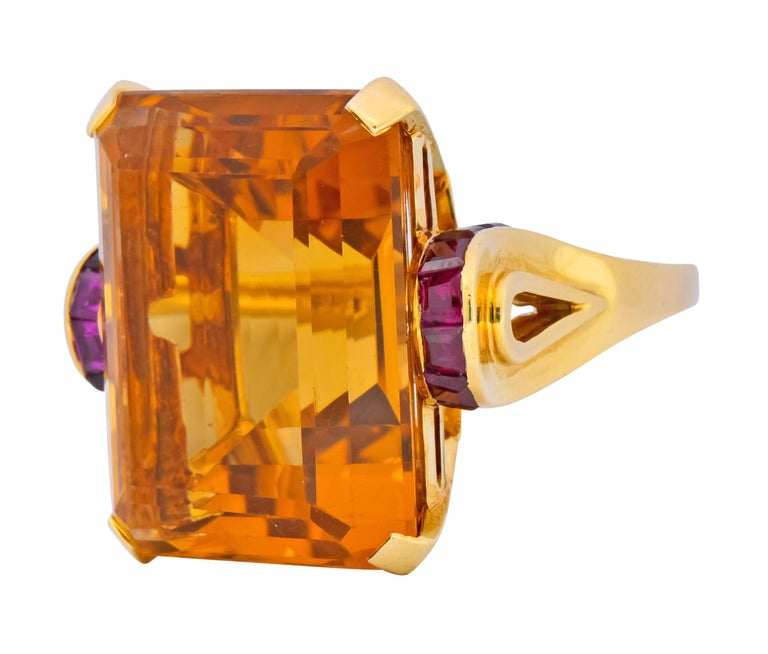 Tiffany & Co. Retro 24.54 Carat Citrine Ruby Cocktail Ring, circa 1950 For Sale 2