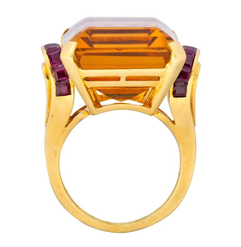 Tiffany & Co. Retro 24.54 Carat Citrine Ruby Cocktail Ring, circa 1950 For Sale 3