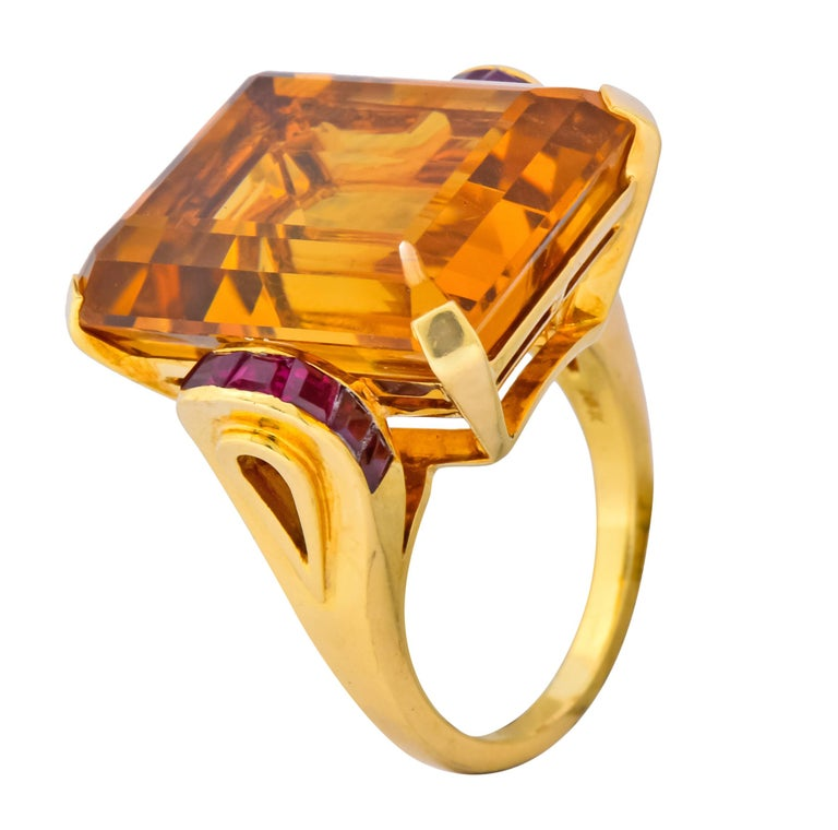 Tiffany & Co. Retro 24.54 Carat Citrine Ruby Cocktail Ring, circa 1950 For Sale 4