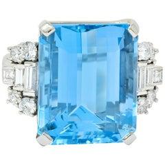 Tiffany & Co. Retro 29.30 Carat Aquamarine Diamond Platinum Statement Ring