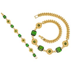 Tiffany & Co. Retro 60.00 Carat Tourmaline 14 Karat Gold Floral Link Bracelet