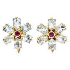 Tiffany & Co. Retro 6.20 Carat Aquamarine Ruby 14 Karat Gold Flower Earrings