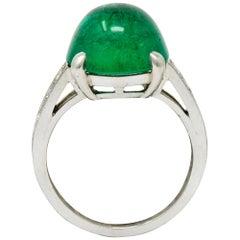 Tiffany & Co. Retro 7.15 Carat Colombian Emerald Diamond Platinum Statement Ring