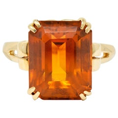 Tiffany & Co. Retro 7.25 Carat Citrine 18 Karat Gold Cocktail Ring