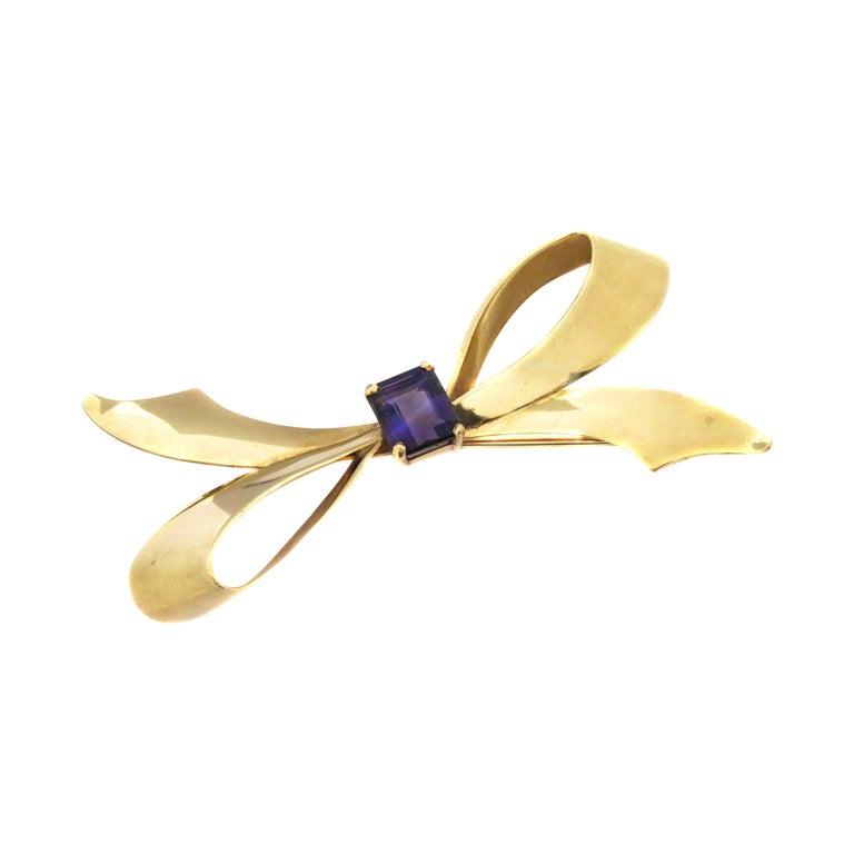 Tiffany & Co. Retro Amethyst Gold Bow Brooch For Sale