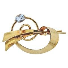 Tiffany & Co Retro Aquamarine Gold Brooch