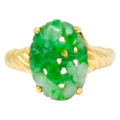 Tiffany & Co. Retro Carved Jade 14 Karat Gold Floral Ring