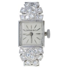 Tiffany & Co. Retro Diamond Ladies Watch 900 Platinum Mechanical 2Yr Wnty .82ctw