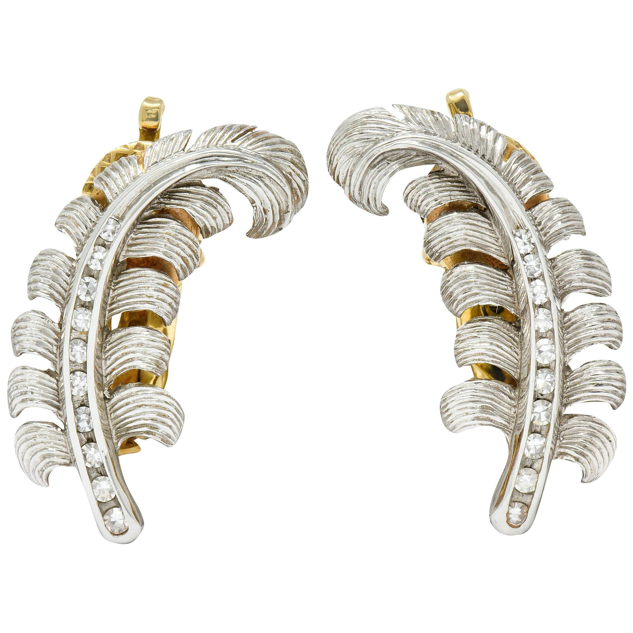 Tiffany & Co. Retro Diamond Platinum 14 Karat Gold Feather Ear-Clip Earrings