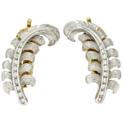 Tiffany & Co. Retro Diamond Platinum 14 Karat Gold Feather Ear-Clip Earrings