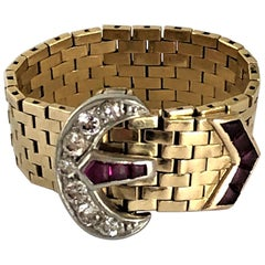Tiffany & Co. Retro, Gold, Diamond, and Ruby Buckle Ring
